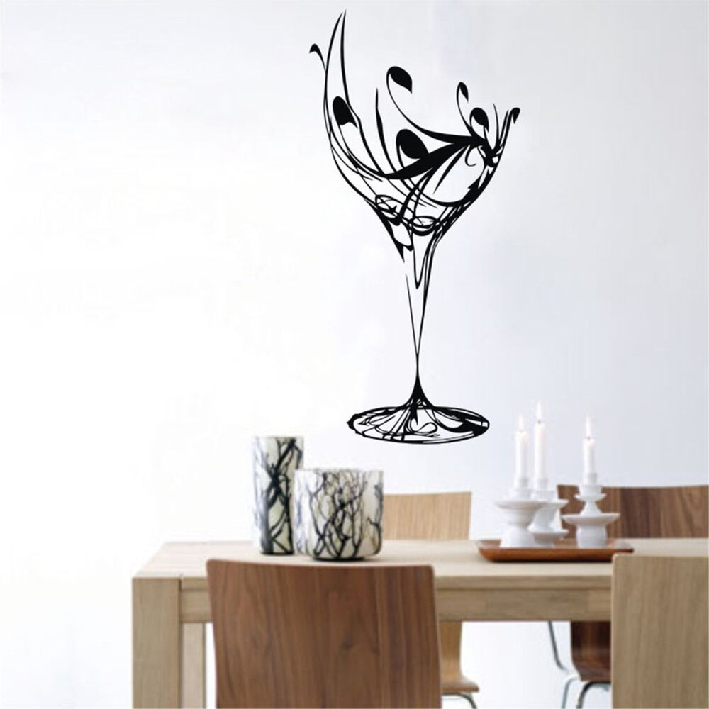 23 6 x 43 3 black abstract elegant wine glass wall decal for Black kitchen wall decor