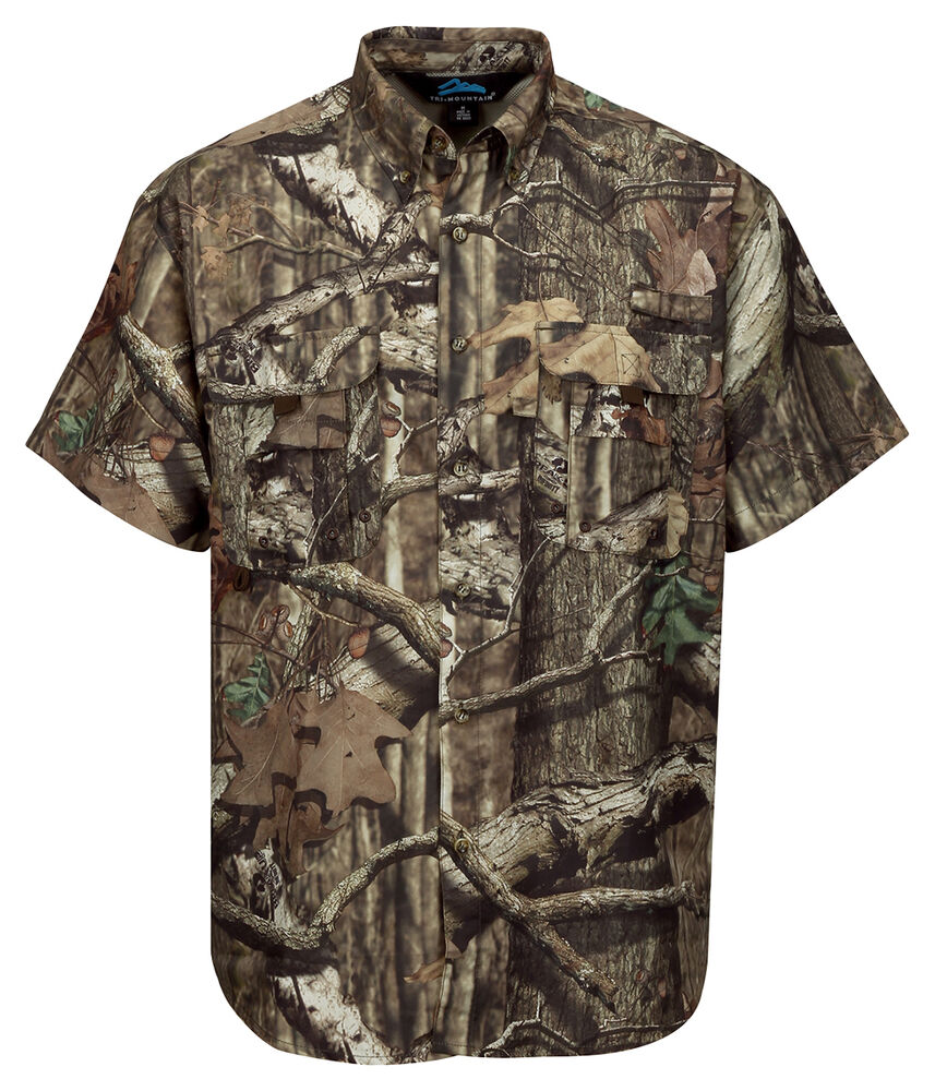 Tri Mountain Men 39 S Polyester Short Sleeve Button Down