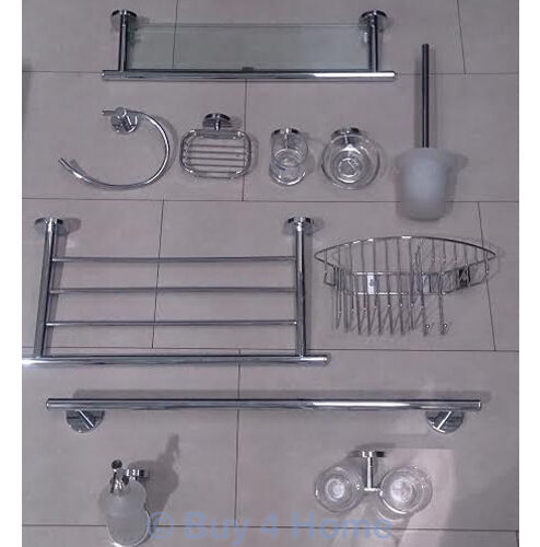 Rak premium stainless steel bathroom accessories chrome glass bath shower ebay for Stainless steel bathroom accessories