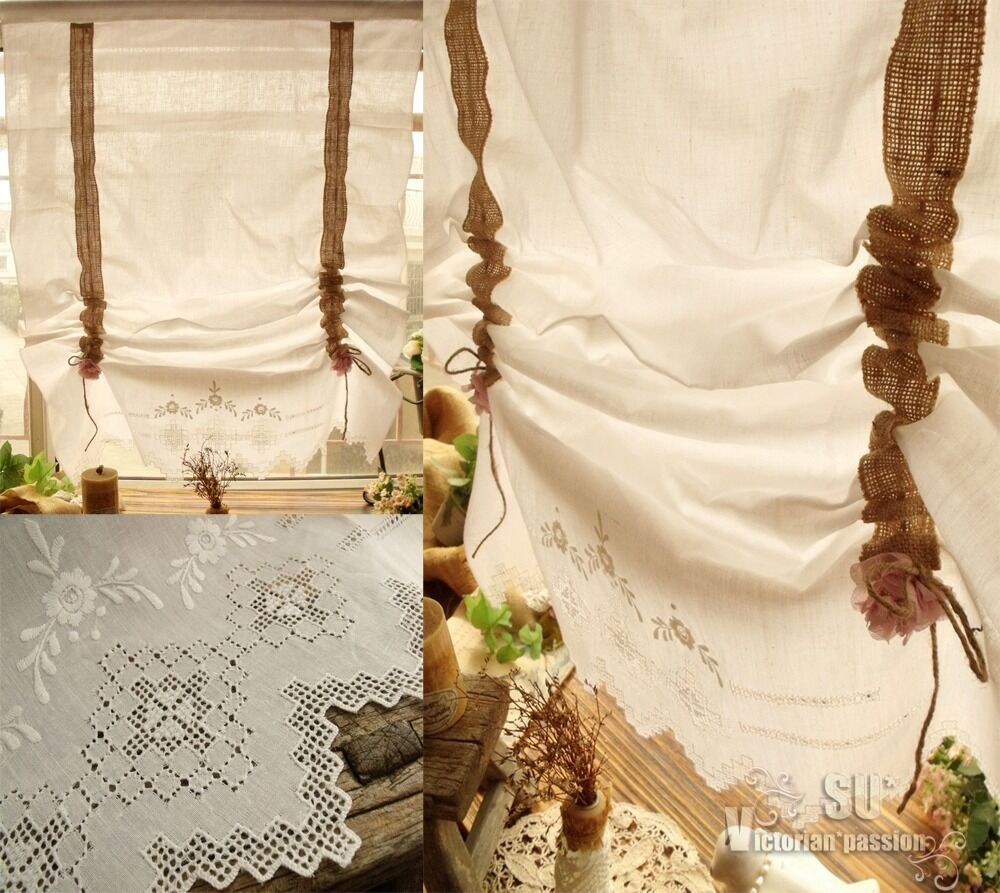 ANTIQUE LINEN French Burlap Curtain Balloon White - HAND Embroidered ...