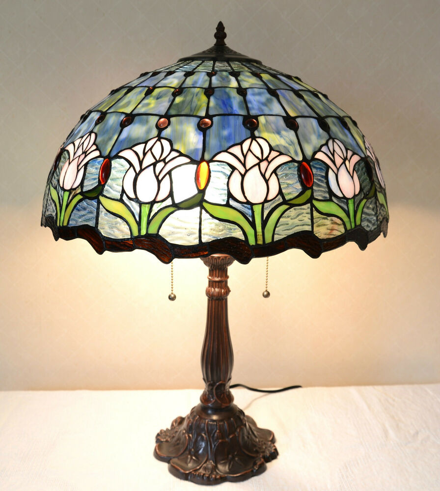 large 20 w tulips flowers stained glass tiffany style. Black Bedroom Furniture Sets. Home Design Ideas