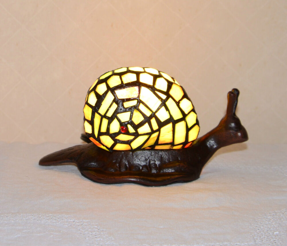 Stained Glass Tiffany Style Snail Night Light Table Desk