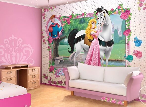 Giant wall mural wallpaper for girl 39 s room disney princess for Disney princess ballroom wall mural