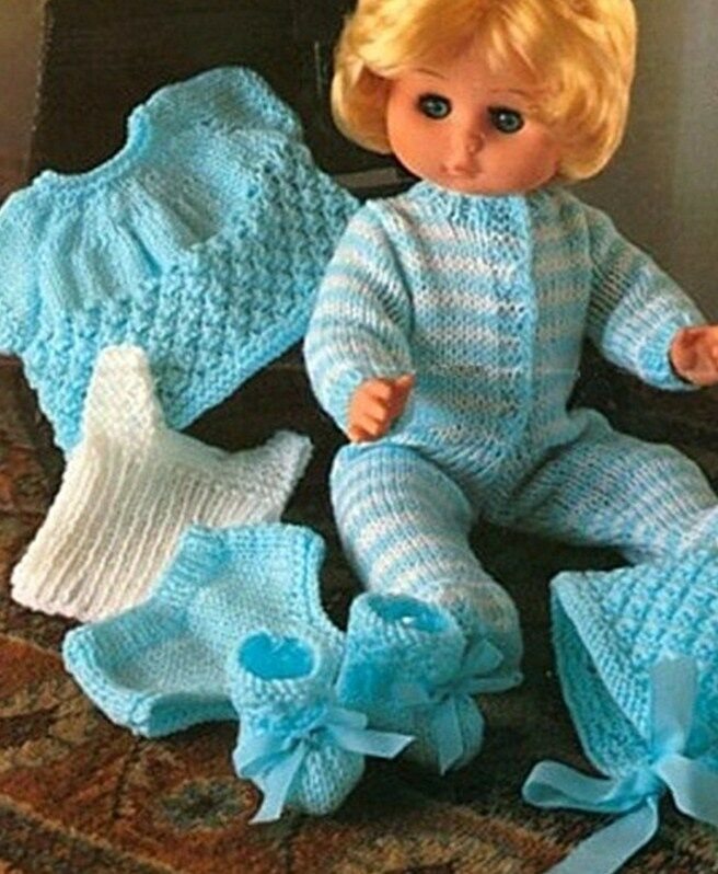 Knitting Patterns For Dolls Clothes 12 Inch : KNITTING PATTERN BABY DOLLS CLOTHES 12-18