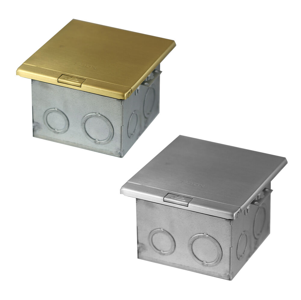 Stainless or brass flat push floor box w 20a twr duplex for Floor receptacle