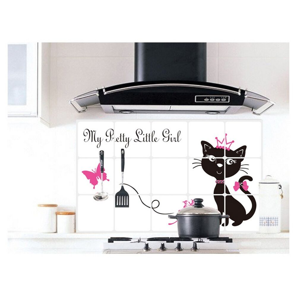 Black cat cover kitchen decor oil proof aluminum foil wall for Black kitchen wall decor