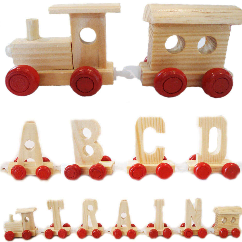 Wooden toy train alphabet name letters children gift for Kids name letters