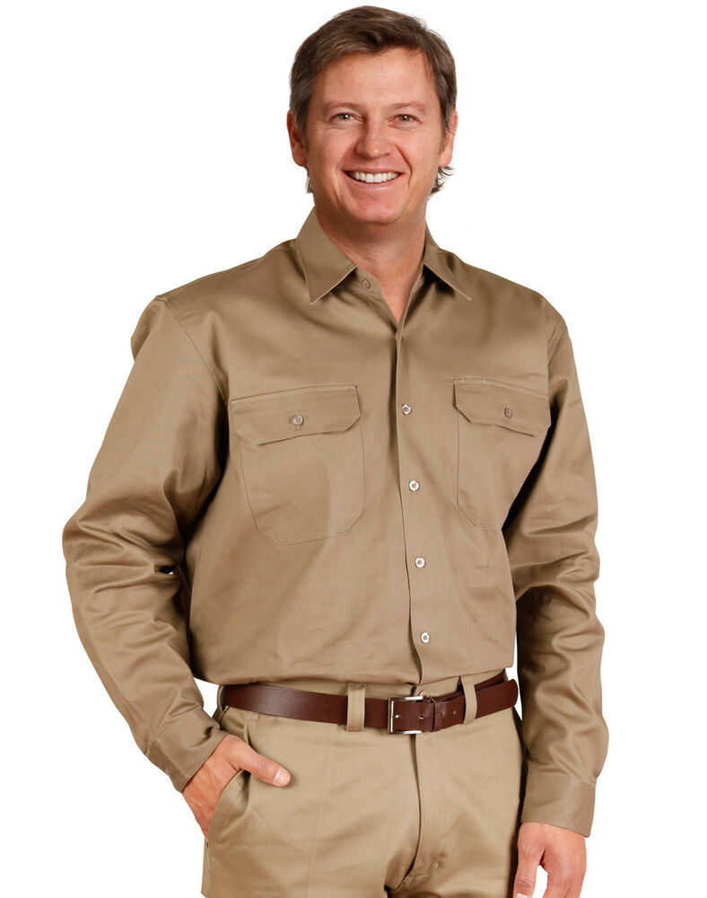 New Mens Cotton Drill Long Sleeve Work Factory Tradie