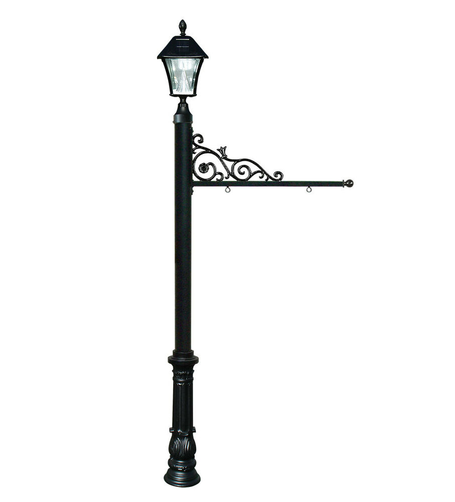 Decorative Real Estate Sign Post System With Solar Lamp In