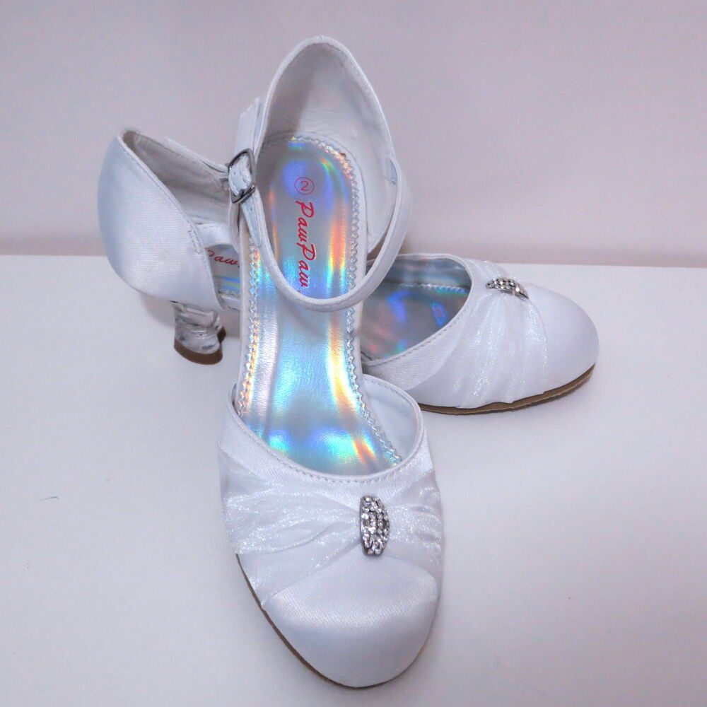 White Girls Heels Shoes Flower Girl Shoes Kids Party Wedding Shoes