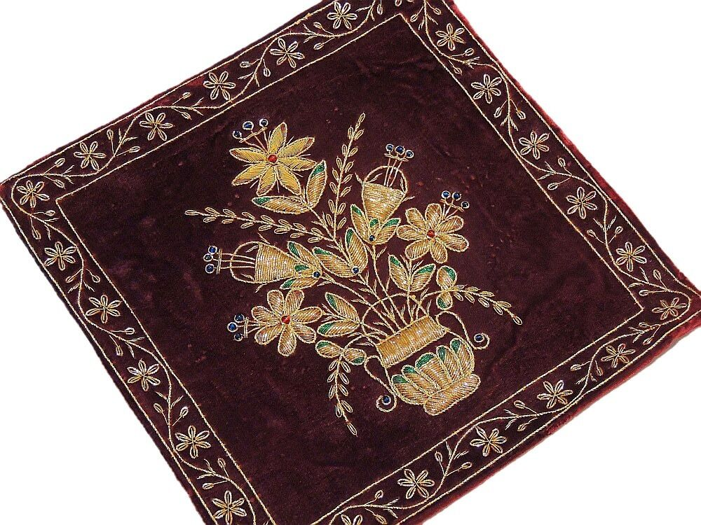beautiful indian couch pillow gold zardozi embroidered unique decorative cushion ebay. Black Bedroom Furniture Sets. Home Design Ideas