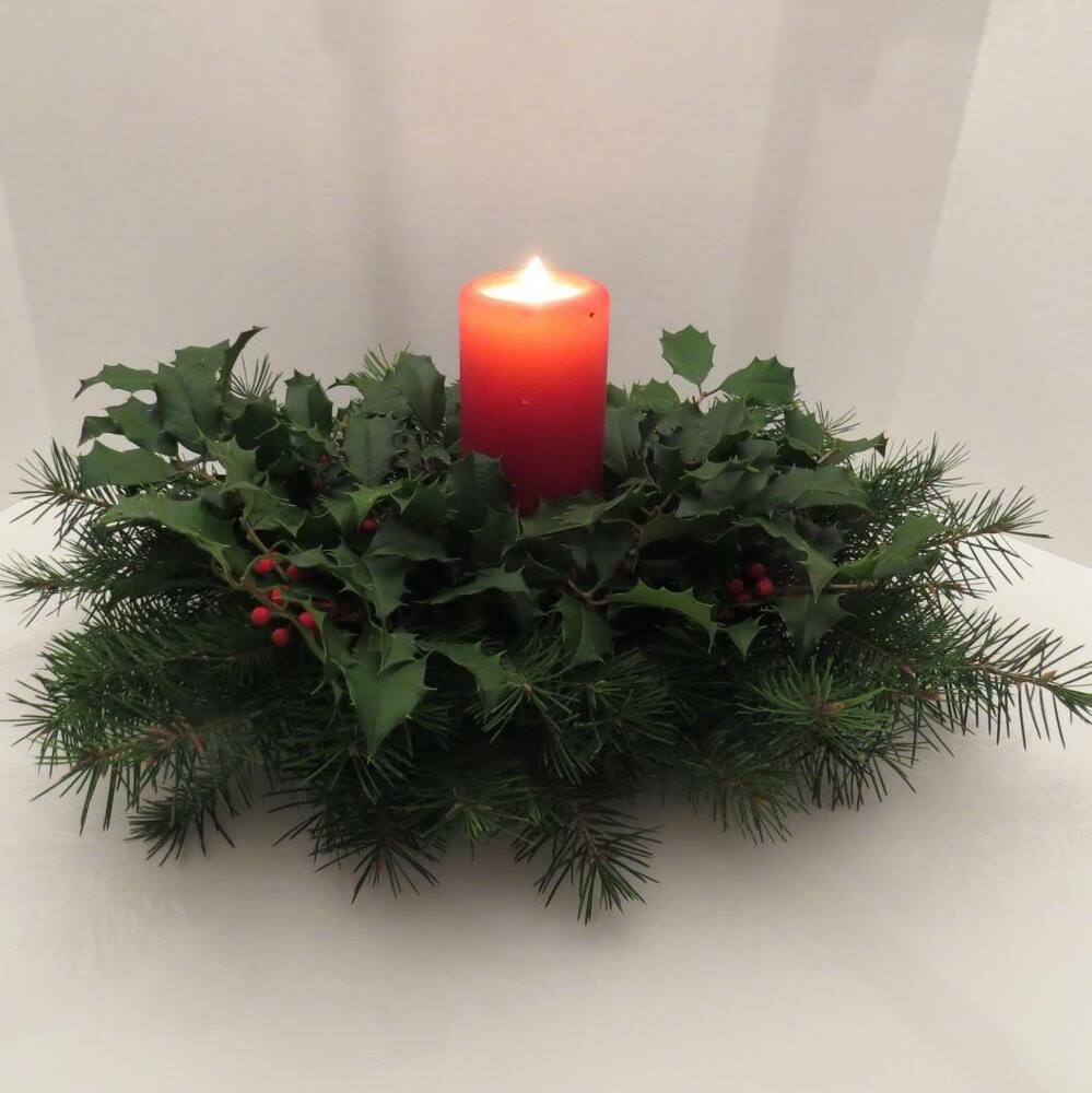Holiday centerpiece fresh live holly douglas fir oval w
