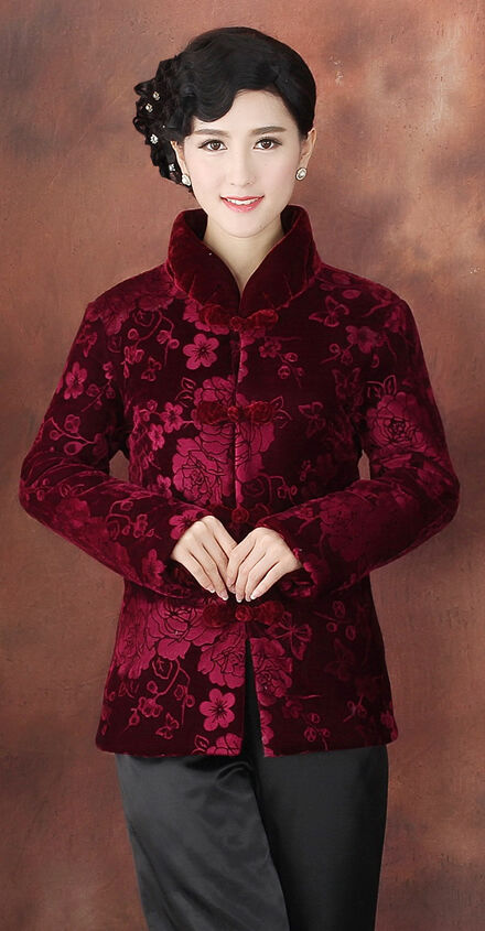 red Chinese Women's embroidery winter velvet evening ...