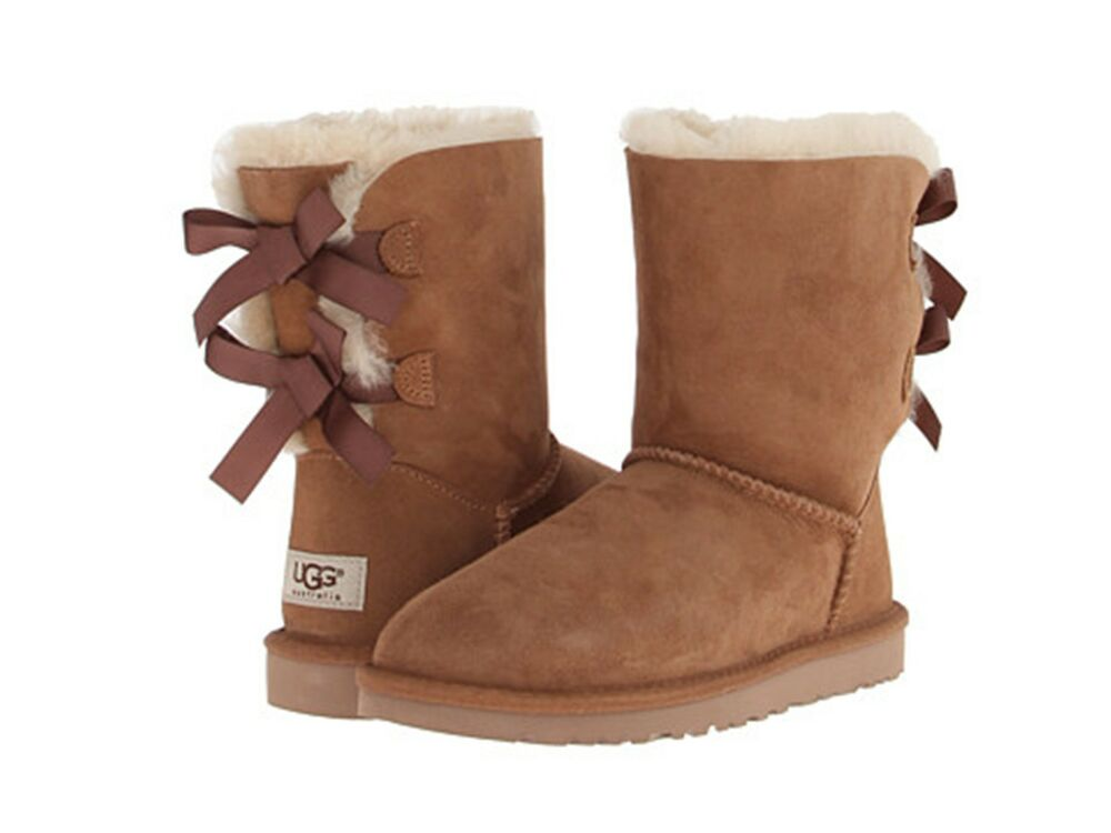 ugg australia women 39 s shoes bailey bow chestnut 1002954 genuine boots new ugg ebay. Black Bedroom Furniture Sets. Home Design Ideas