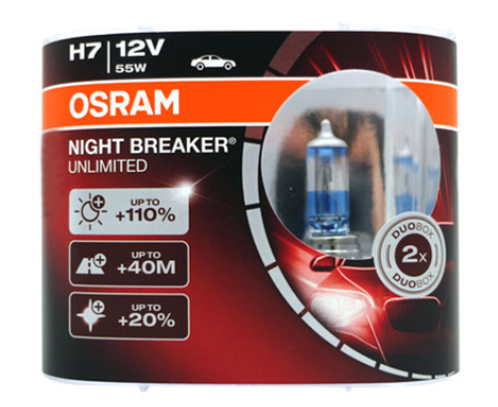 osram 64210nbu night breaker unlimited h7 bulbs 12v 55w brand new pair ebay. Black Bedroom Furniture Sets. Home Design Ideas