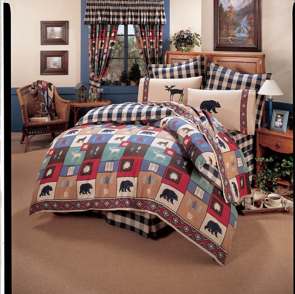The Woods Comforter Set Bear Moose Wildlife Bedding Ebay