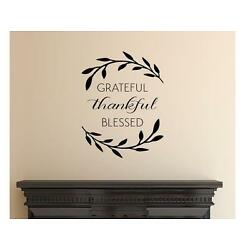 GRATEFUL THANKFUL BLESSED  Wall Art Decal Quote Words Lettering Decor