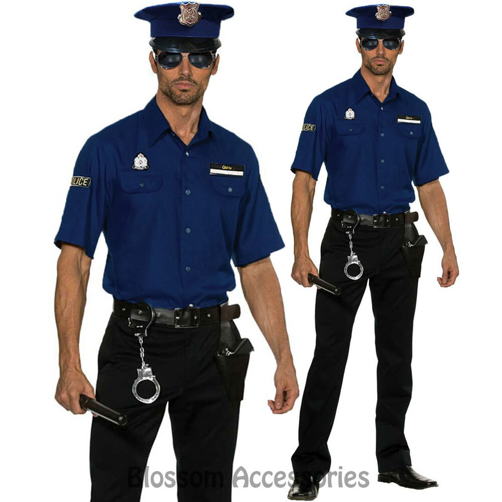 K35 Mens BLUE Police Officer Policeman Halloween Cops