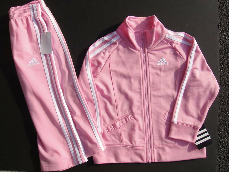 Adidas Nwt 2pc Girl Jacket Pant Track Suit Pink Warm Up 6