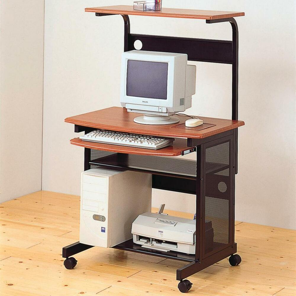 Metal and Wood Computer Desk Cart with Storage and Casters by Coaster