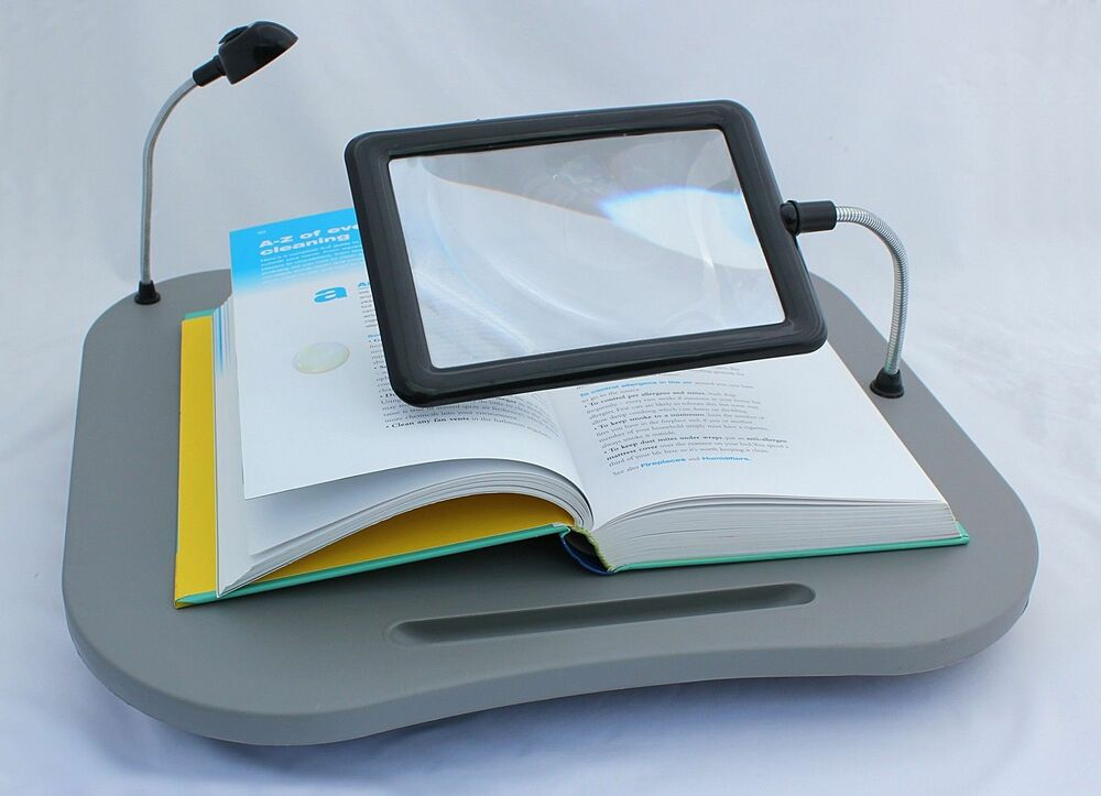 cushioned tray bed reading desk magnifying glass light