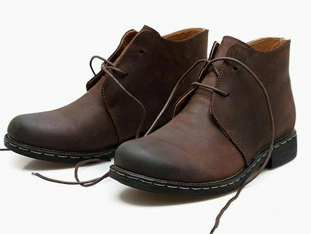 Mens ankle boots leather chukka desert work warm lined ...