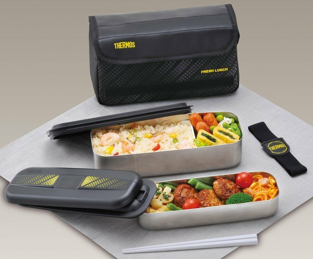 thermos dsd 1101wbk bento lunch box 1100ml 2 tiers 215 85 105 with bag ebay. Black Bedroom Furniture Sets. Home Design Ideas