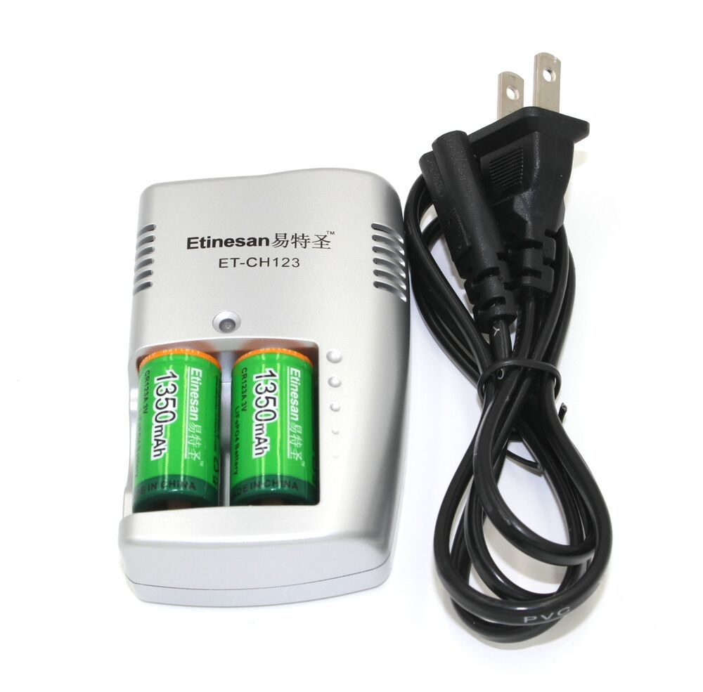 2pcs etinesan 1350mah 3v cr123a rechargeable lithium battery with charger set ebay. Black Bedroom Furniture Sets. Home Design Ideas