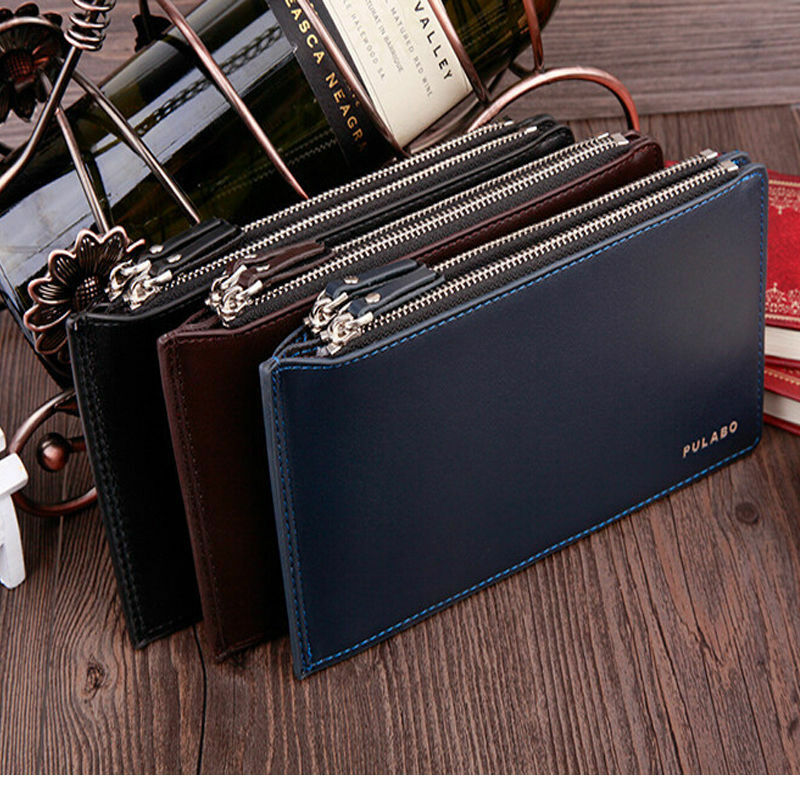 Men's Faux Leather Wallet Pockets ID credit Card holder ...
