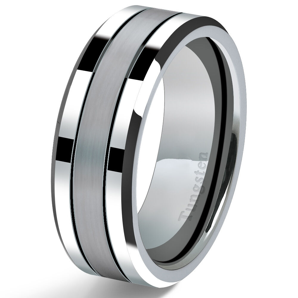 Tungsten Carbide Mens Wedding Band Ring 8mm Modern Polished With Brushed Cent