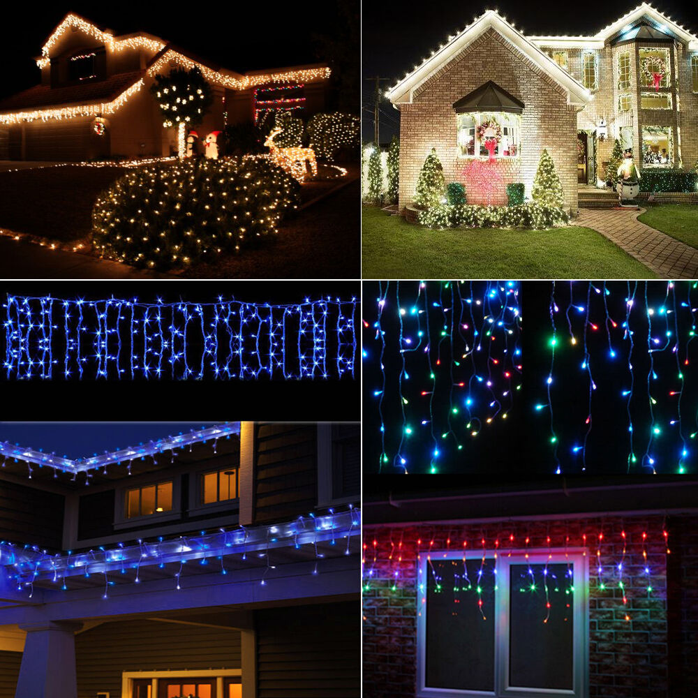 5M Christmas 224 LED Outdoor Window Display Icicle Curtain Fairy String Light