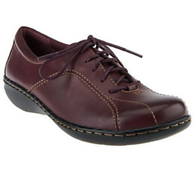 Clarks Bendables Ashland Pearl Leather Lace Up Shoes   M