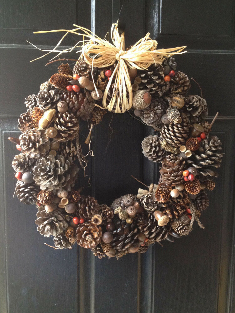 Large Pine Cone Christmas Holiday Wreath Handcrafted