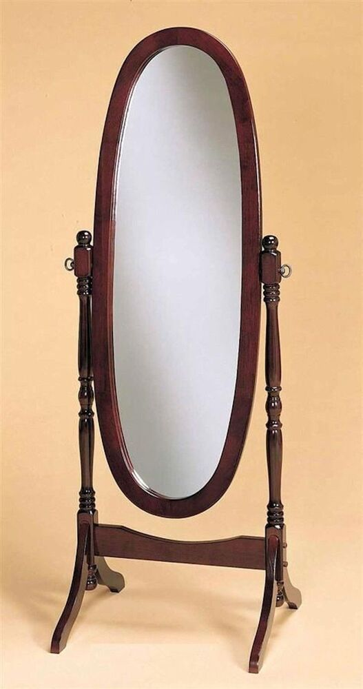 Swivel Full Length Wood Cheval Floor Mirror Cherry Finish