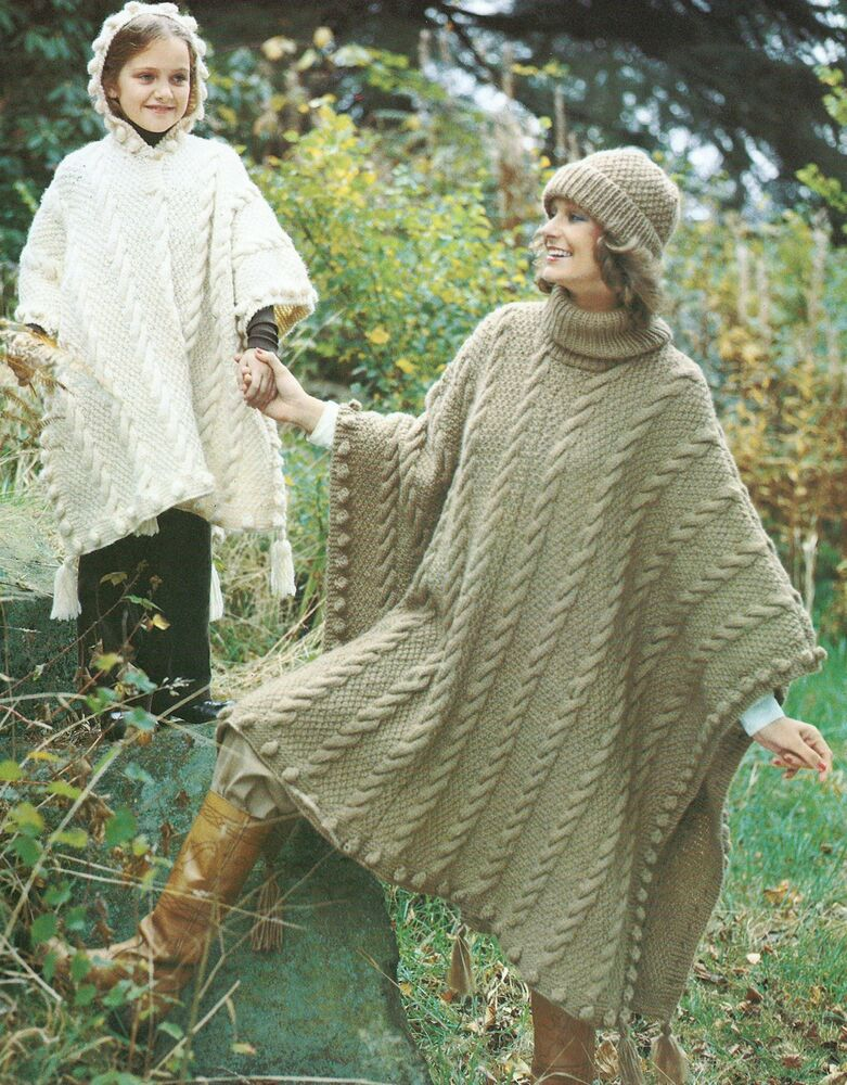 Ladies Girls Knitting Pattern Poncho Hat Chunky Knit Retro 274 eBay