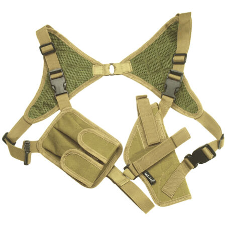 img-MILITARY SHOULDER PISTOL HOLSTER MAG POUCH ADJUSTABLE AIRSOFT CORDURA COYOTE TAN