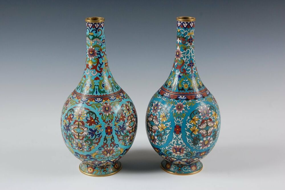 Asian Chinese Qing Dynasty Cloisonne Scrolling Lotus