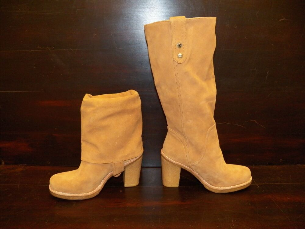 New Womens Ugg Josie Chestnut Suede Convertible Tall Short
