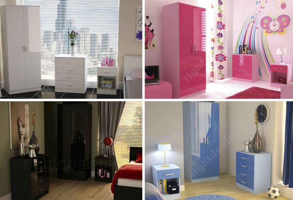 Caspian high gloss bedroom furniture sets boys girls pink for White high gloss bedroom furniture