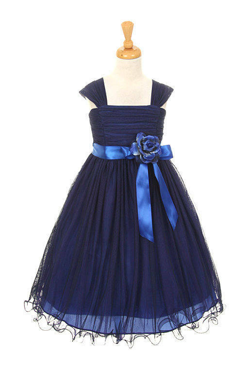015402398 Special Occasion Royal & Navy Blue Mesh Girls Dress Wedding Flower Girl  Dress | eBay