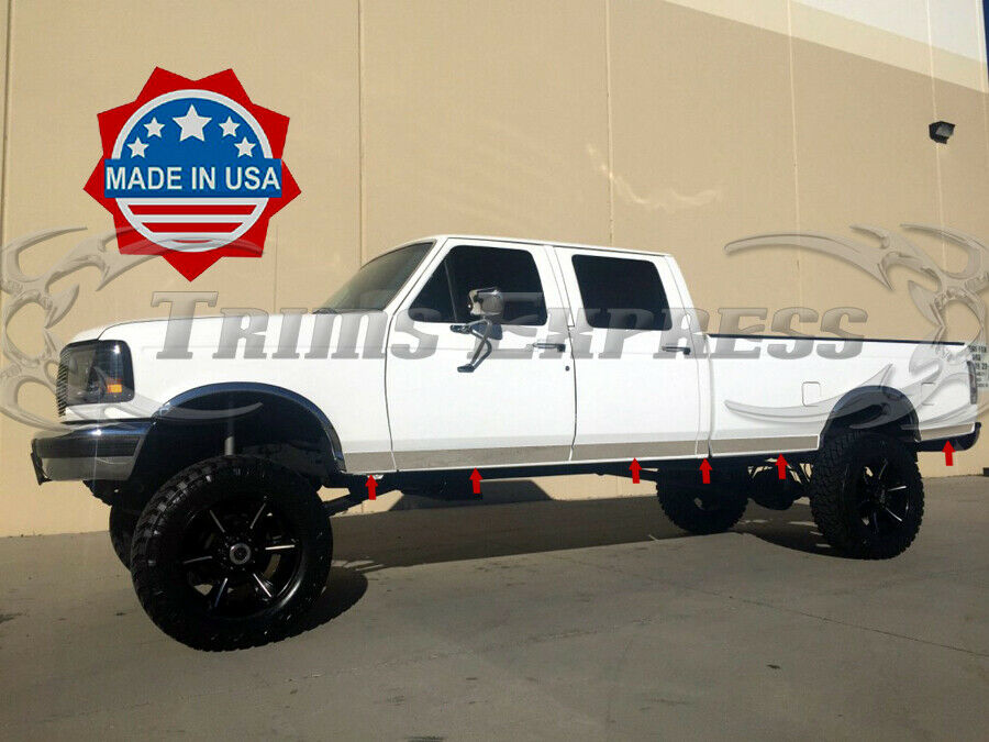 Ford F350 4 Door Extended Cab >> 1987-96 Ford F-Series Pickup Crew Cab Long Bed Chrome Rocker Panel Trim-3"