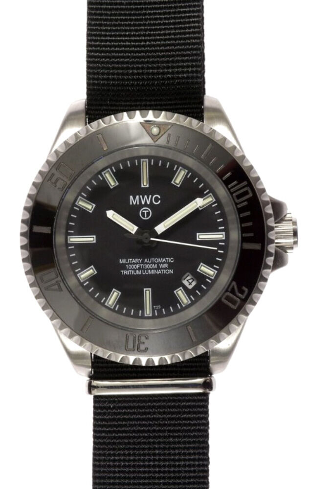 Mwc 24 jewel auto submariners divers watch 300m two straps tritium gtls ebay for Tritium dive watches
