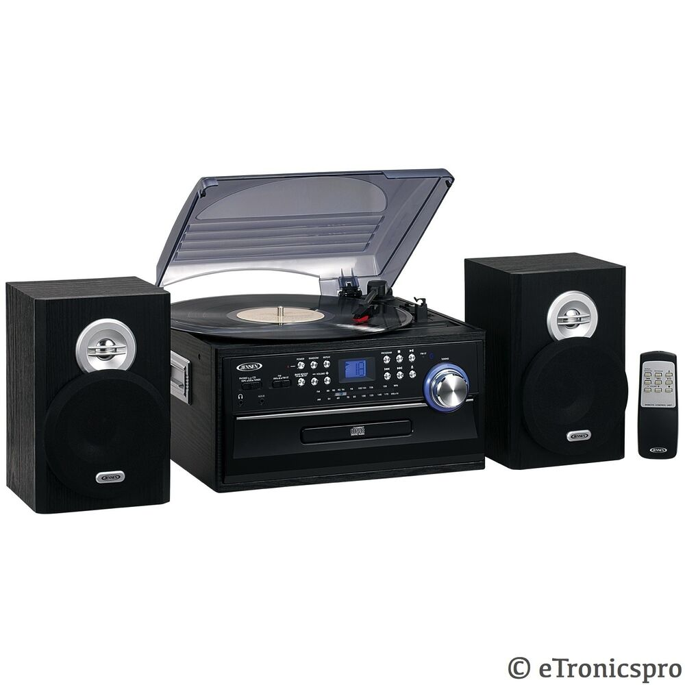home stereo jensen cd cassette record player turntable. Black Bedroom Furniture Sets. Home Design Ideas