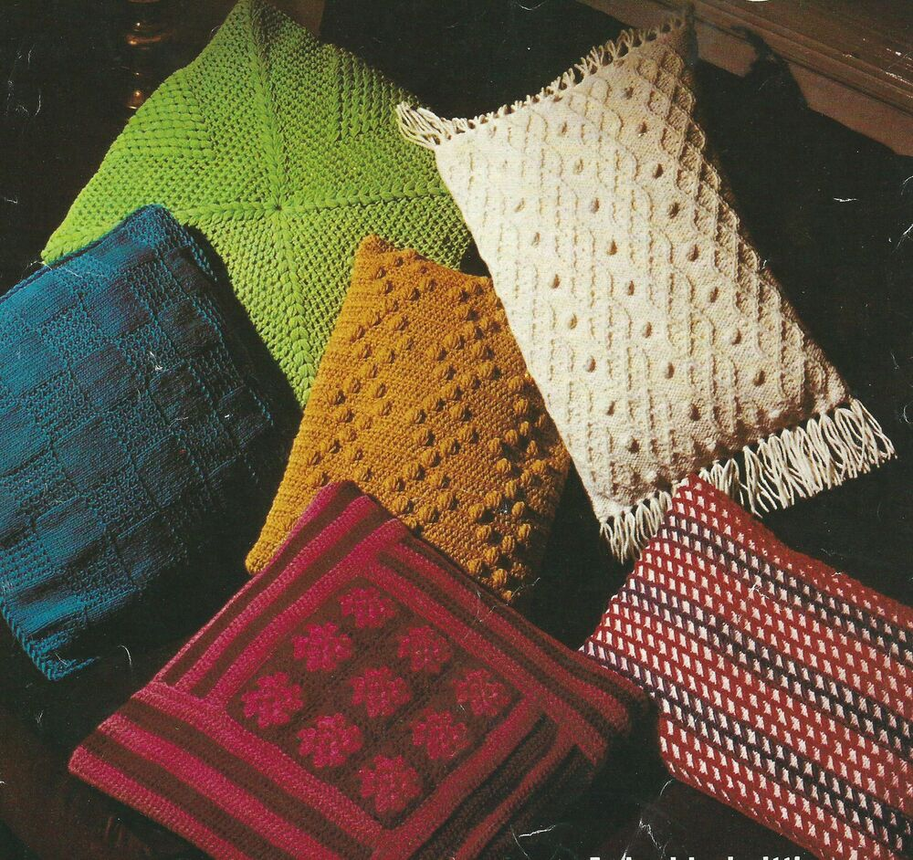 Cushion Knitting & Crochet Patterns 6 Designs DK and Aran 276 eBay