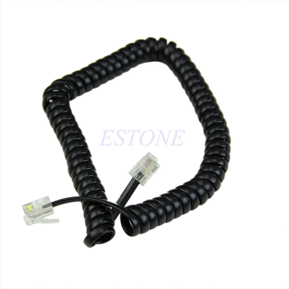 6.5ft Black Home Telephone Handset Curly Extension Cord ...