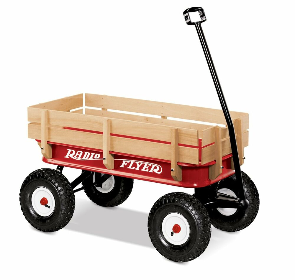 Wagons For Toys : Radio flyer red wagon handle quot rubber tires all terrain