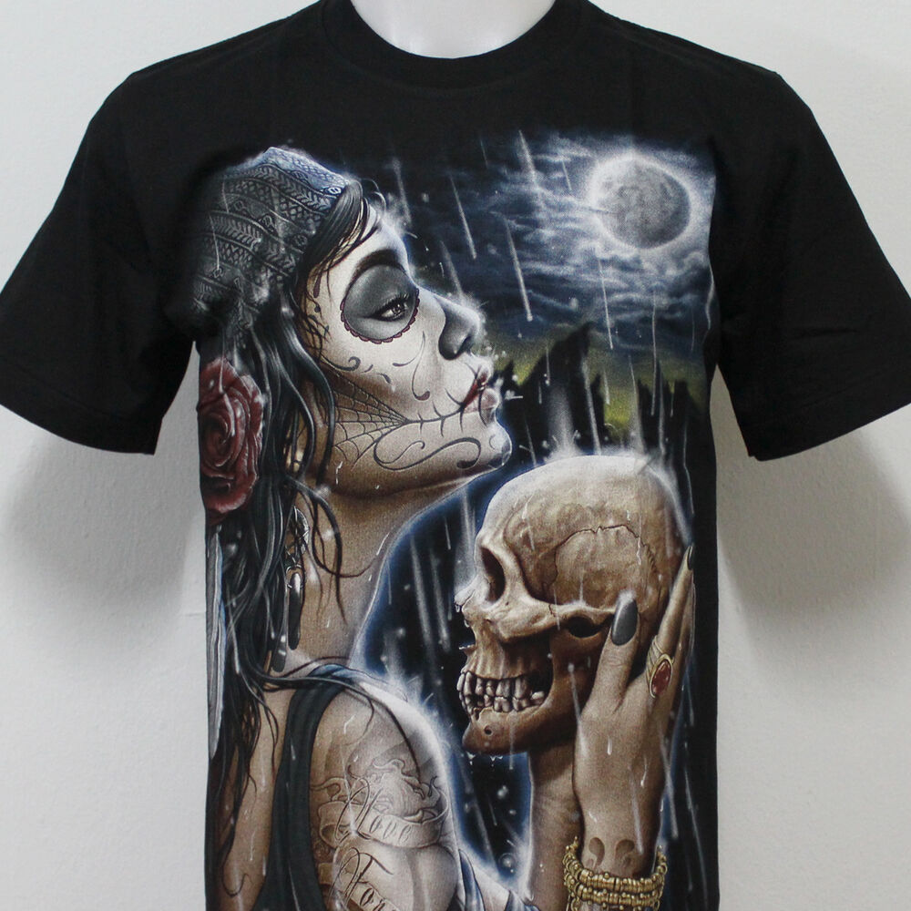 Sugar girl skull tattoo rock eagle t shirt 100 cotton g35 for Skull and eagle tattoo