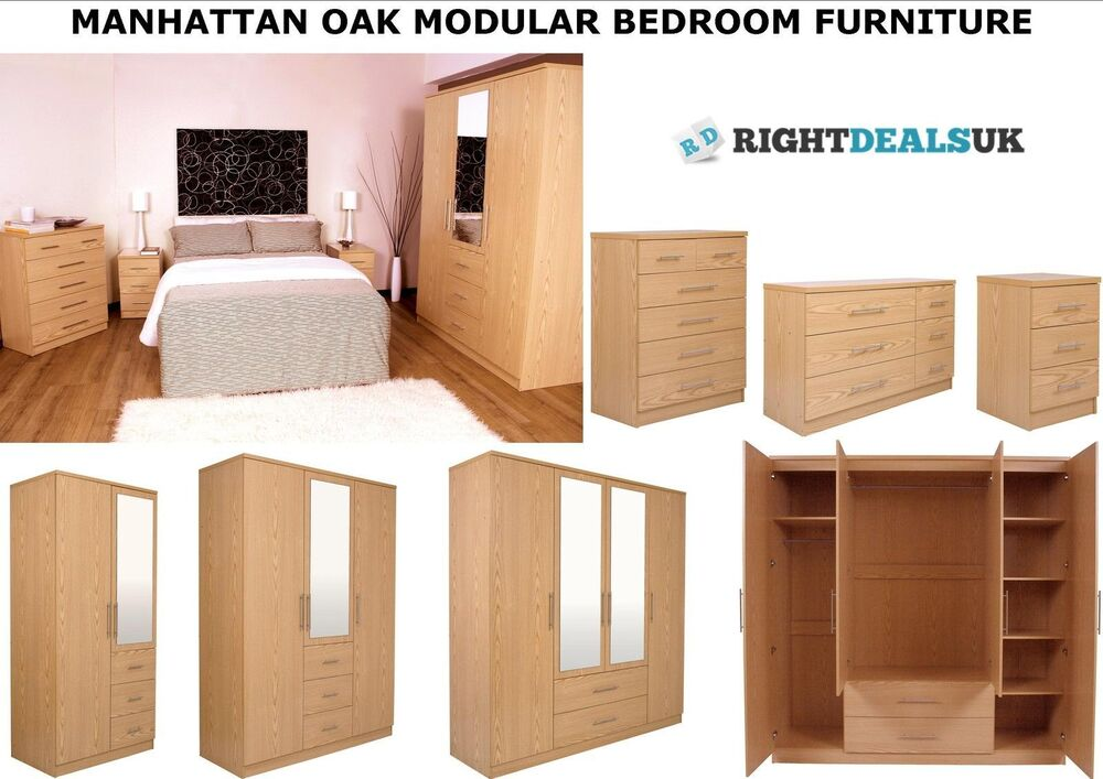Manhattan oak finish large modular bedroom furniture range for Q furniture brighton co