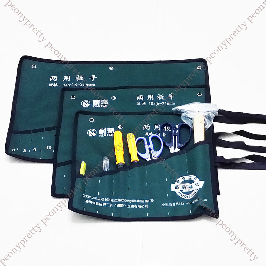 durable 8 10 14 pocket canvas spanner wrench tool roll up storage bags organizer ebay. Black Bedroom Furniture Sets. Home Design Ideas