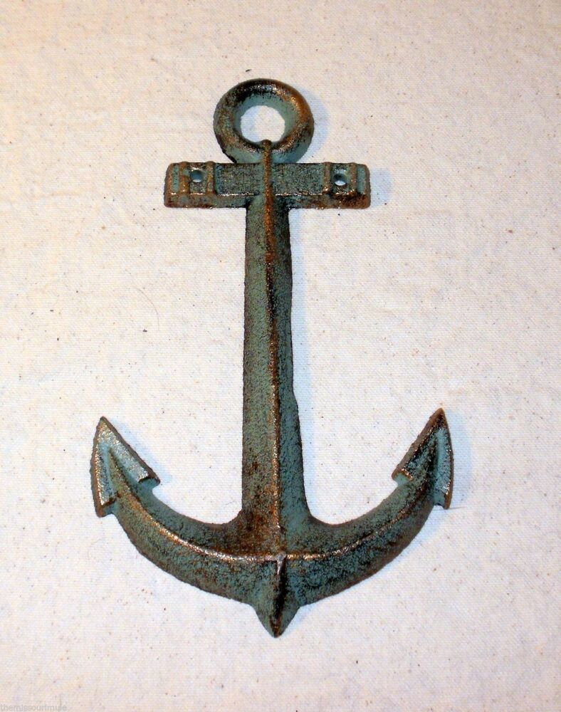 New small cast iron anchor wall hanging decor nautical for Anchor decoration